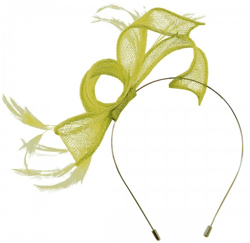 Max and Ellie Sinamay Fascinator in Lime