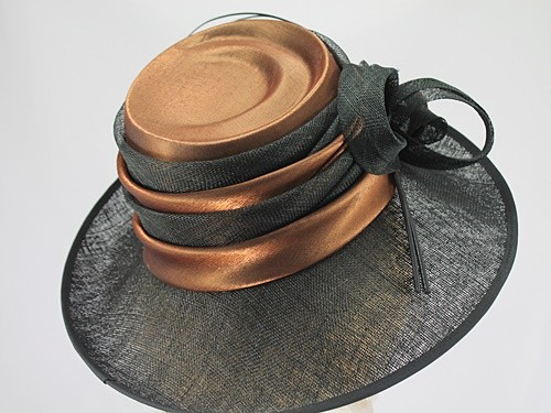 Llewellyn and Mitchell Black and Bronze Ascot Hat