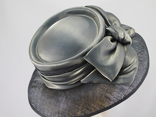 Marida Silver Grey and Black Ascot Hat