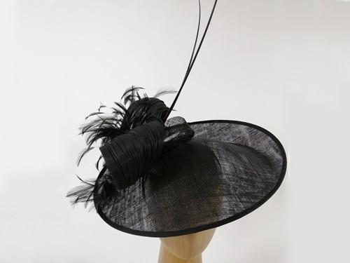 Matthew Eluwande Millinery Black Bow Disc Headpiece