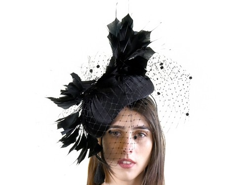 Matthew Eluwande Millinery Black Ascot Headpiece