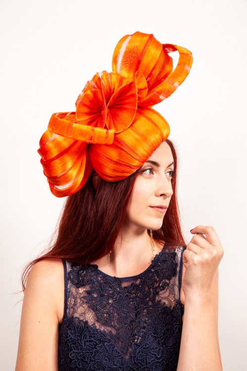 Matthew Eluwande Millinery Orange Abaca Silk Fascinator