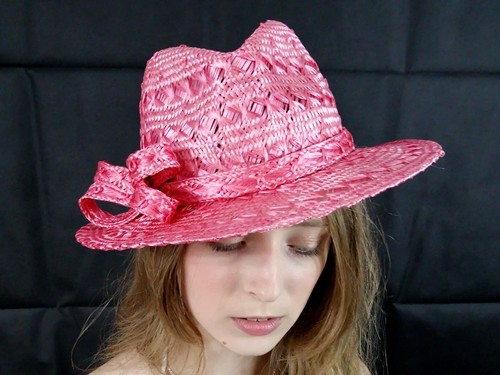Matthew Eluwande Millinery Pink Straw Hat