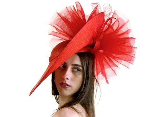 Matthew Eluwande Millinery Red Disc Headpiece