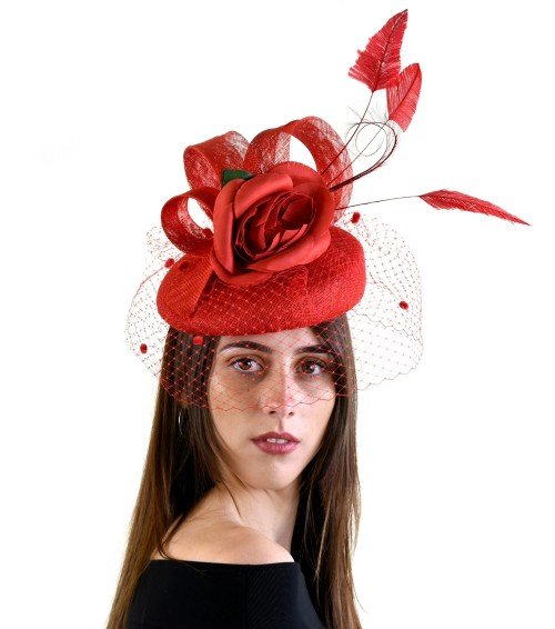 Matthew Eluwande Millinery Red Pillbox Headpiece