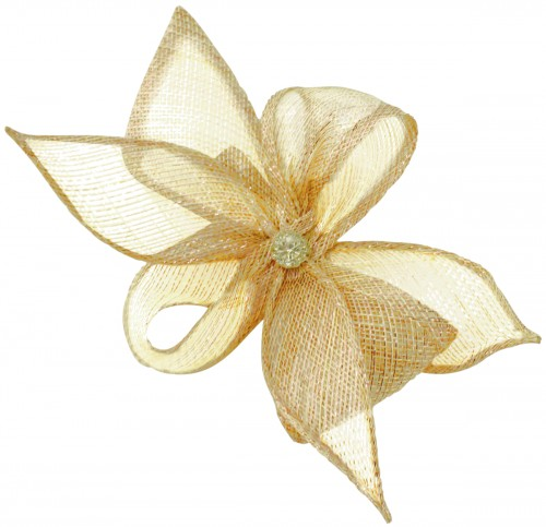Elegance Collection Diamante Clip Fascinator in Metallic Nude