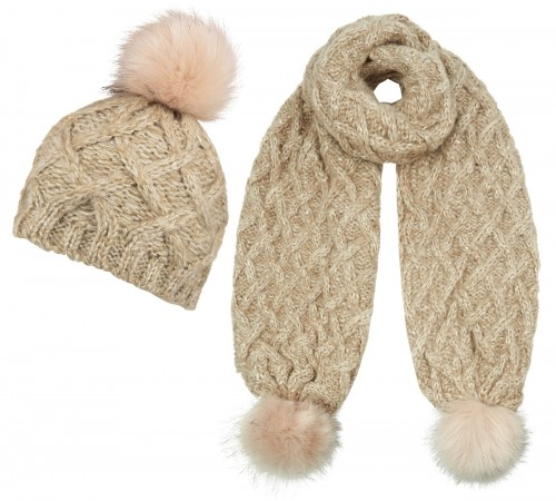 Boardmans Sparkle Bobble Ski Hat with Matching Scarf