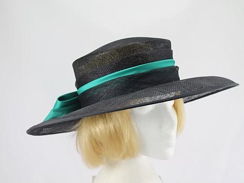 Mitzi Lorenz Black and Turquoise Wedding Hat