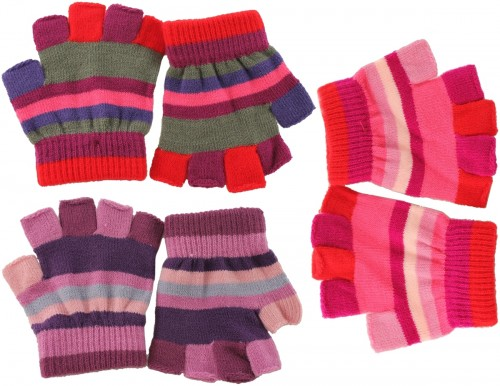 SSP Hats Set of Three Striped Fingerless Gloves