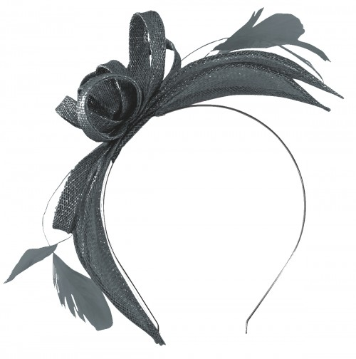 Failsworth Millinery Aliceband Sinamay Fascinator in Navy-Silver
