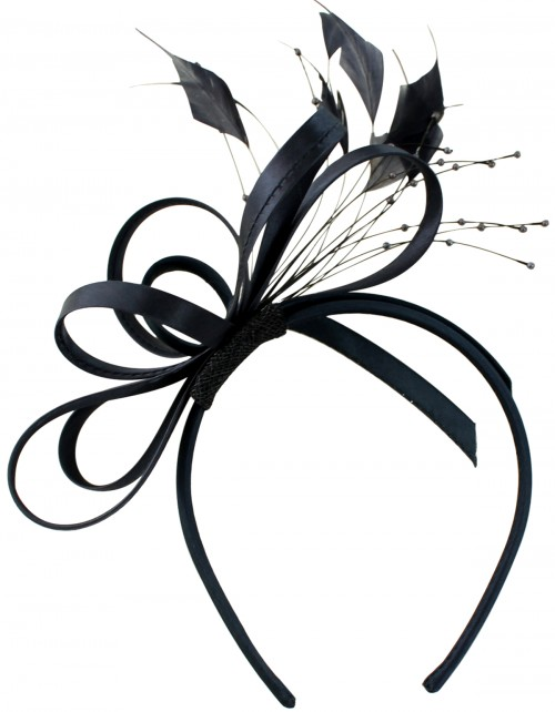 Elegance Collection Satin Loops Aliceband Fascinator in Navy