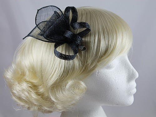 9113f7429a433 Wedding Hats 4U - Elegance Collection Small Sinamay Fascinator in Navy