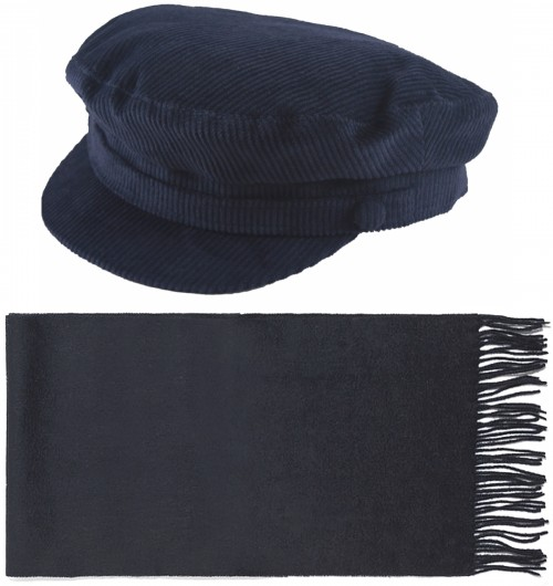 Failsworth Millinery Mariner Cord Cap with Matching Lambswool Scarf