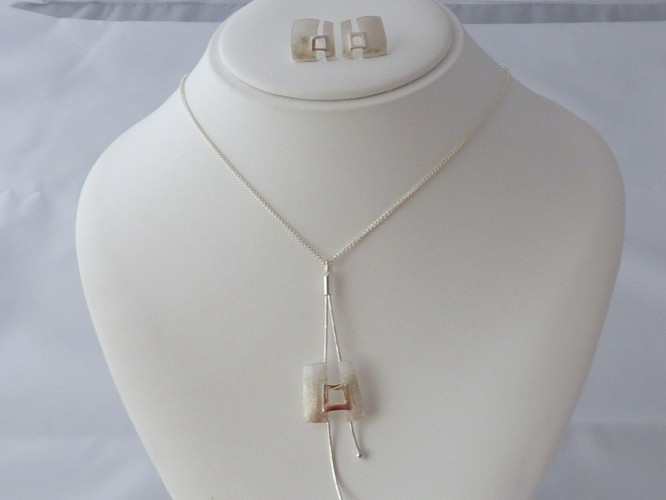 Kay Leeves Studio Designs Necklace and Earrings Sterling Silver