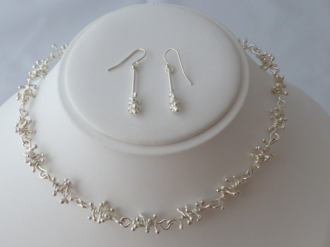 Kay Leeves Studio Designs Sterling Silver necklace and earring set