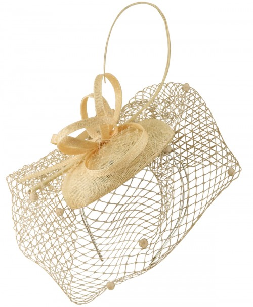 Max and Ellie Pillbox Fascinator in Nude