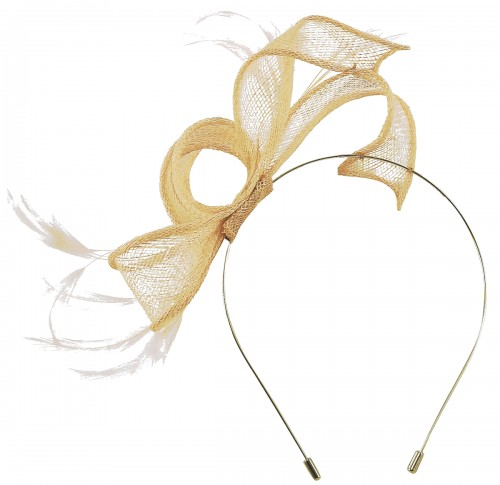 Max and Ellie Sinamay Fascinator in Nude
