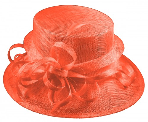 Elegance Collection Sinamay Loops Wedding Hat in Orange
