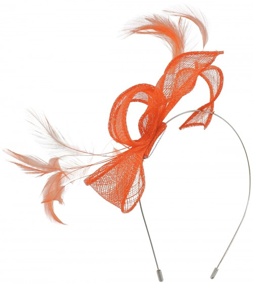 Max and Ellie Sinamay Fascinator in Orange