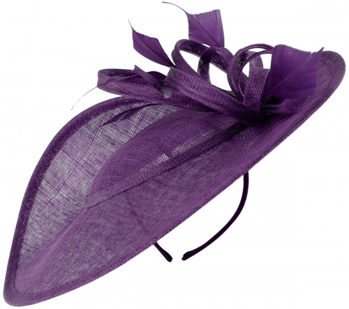 Failsworth Millinery Shaped Saucer Headpiece in Pansy