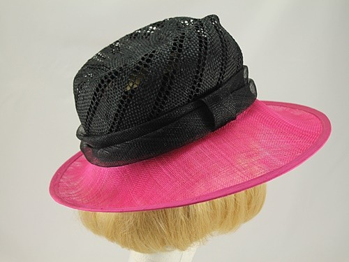 Peter Bettley Pink and Black Wedding Hat