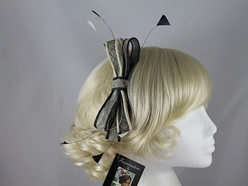 Plaza Suite NY Black and Cream Fascinator