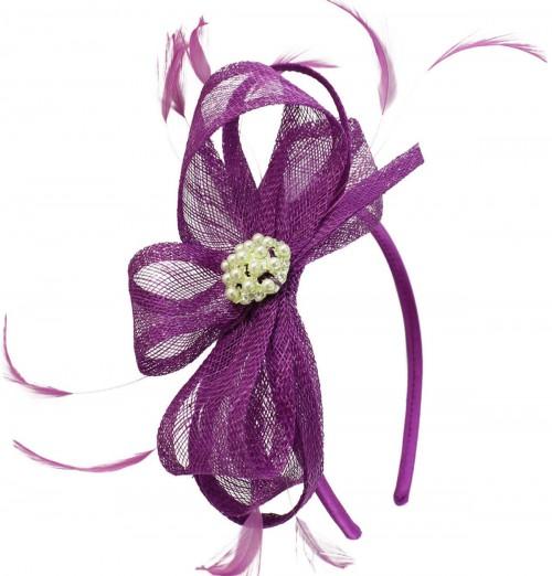 Elegance Collection Sinamay Headpiece Fascinator in Purple