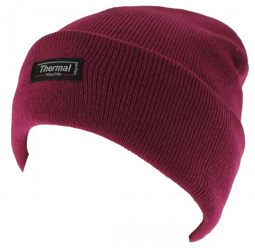Thinsulate Ladies Beanie Ski Hat in Raspberry
