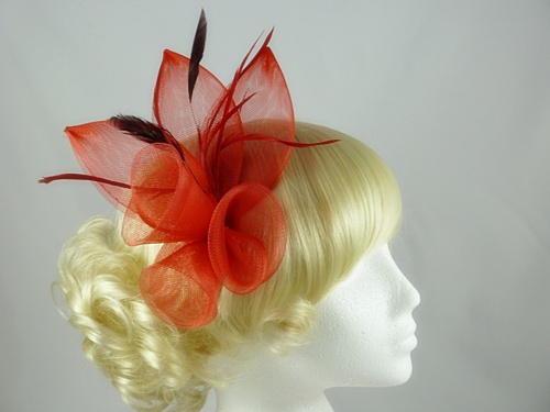 2cbbfc6a Wedding Hats 4U - Large Bright Fascinator in Red