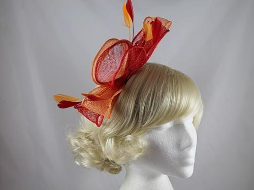 4f114c66 Wedding Hats 4U - Large Loop Fascinator in Red & Orange