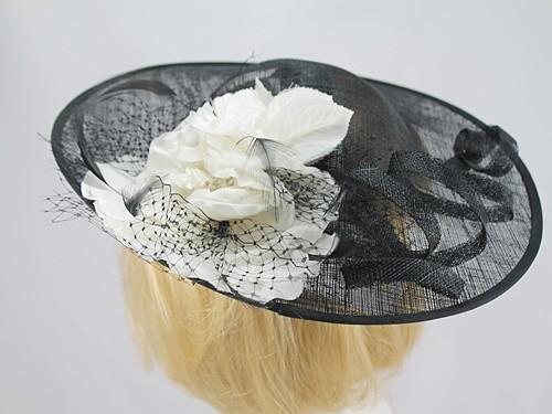 32a398fe9a5ae Wedding Hats 4U - Roman Originals Black and Ivory Large Fascinator