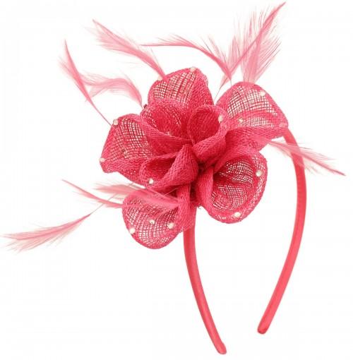 Elegance Collection Diamante Flower Fascinator in Rosie