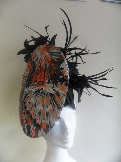 Suzie Mahony Designs Grey and Orange Headpiece
