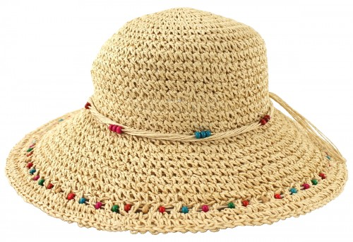 SSP Hats Beaded Woven Straw Wide Brim Hat