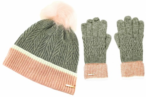 Alice Hannah Ella Knitted Wool Beanie with Matching Gloves