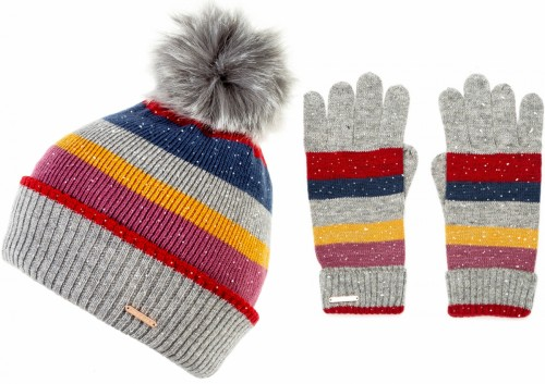 Alice Hannah Laney Stripey Sparkly Beanie with Matching Gloves