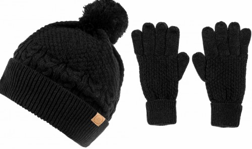 Boardman Finley Cable Knit Beanie with Matching  Gloves