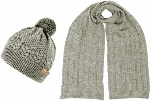 Boardmans Finley Mens Beanie Bobble Hat with Matching Scarf