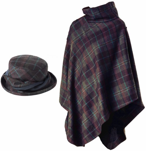 Failsworth Millinery Mallaleius Wool Hat with Matching Tweed Cape