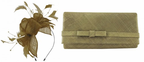Max and Ellie Diamante Fascinator with Matching Occasion Bag