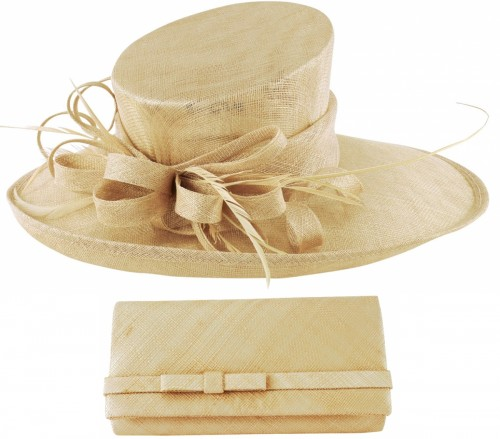 Max and Ellie Events Hat with Matching Occasion Bag in Nude