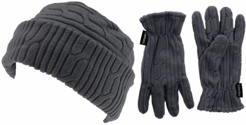 SSP Hats Thermal Patterned Beanie with Matching Gloves