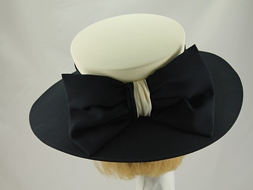 5f201958f0c5b Simon Ellis Navy and Cream Formal Hat - Wedding Hats 4U