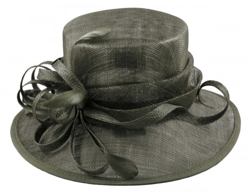 Elegance Collection Sinamay Loops Wedding Hat in Slate