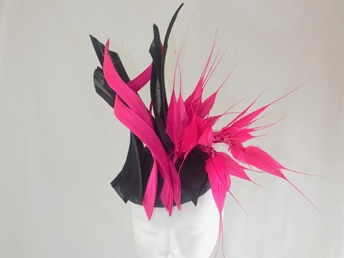 Suzie Mahony Designs Cerise and Black Silk Percher