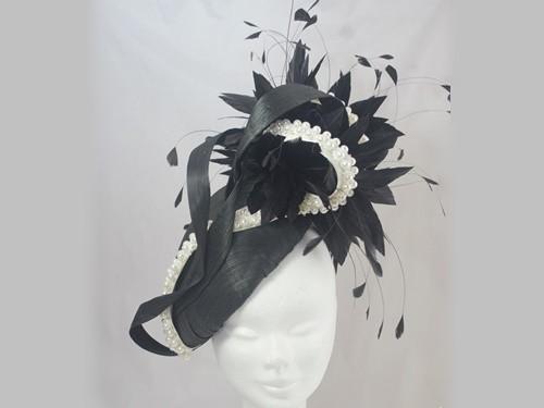 Suzie Mahony Designs Ebony Pearl Silk Hat