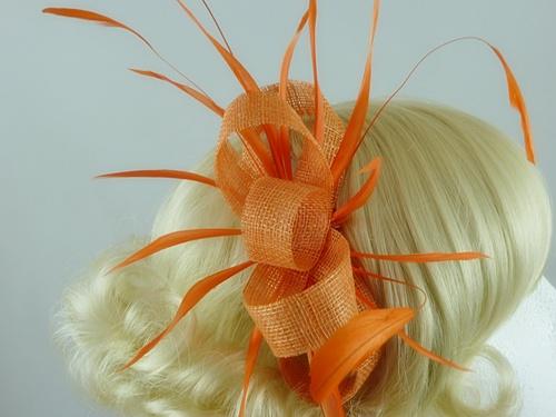 d9793508 Wedding Hats 4U - Large LoopsTangerine Fascinator in Orange