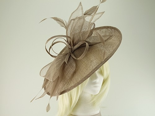 3cab0136 Wedding Hats 4U - Max and Ellie Ascot Disc Headpiece in Taupe - ML17-FD7
