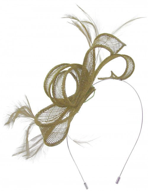 Max and Ellie Sinamay Fascinator in Taupe