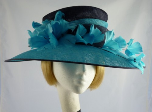 f95aacab Jacques Vert ascot hat in Turquoise & Black - Wedding Hats 4U